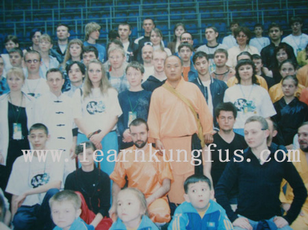 Shaolin master and students