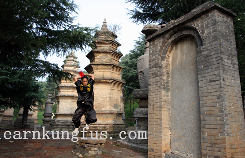 Student in Pagoda forest of shaolin temple