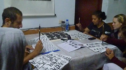 Students learnt cultural classes-calligraphy.